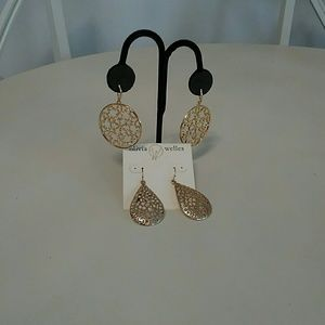 Two for one price, gold tone pierced earrings